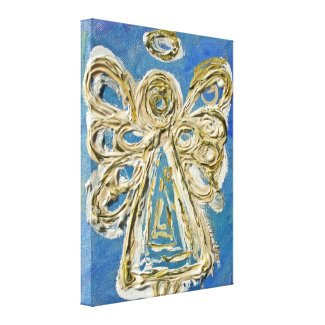 Blue Guardian Angel Art Wrapped Canvas Painting