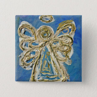 Blue Guardian Angel Button, Pin, or Pendant Pinback Button