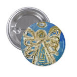 Blue Guardian Angel Buttons, Pins, or Pendants