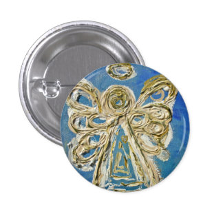 Blue Guardian Angel Buttons, Pins, or Pendants 1 Inch Round Button