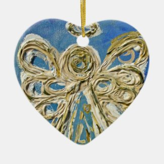 Blue Guardian Angel Holiday Ornament