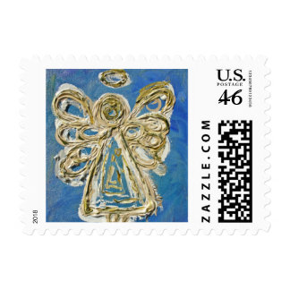 Blue Guardian Angel Holiday Postage Stamp