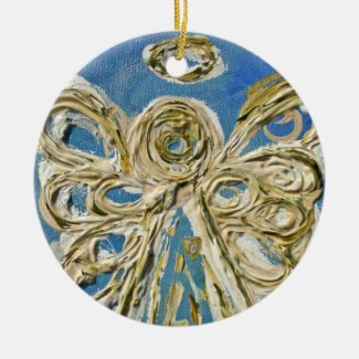 Blue Guardian Angel Ornament Pendant