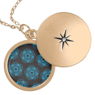 Blue guilloce pattern round locket necklace
