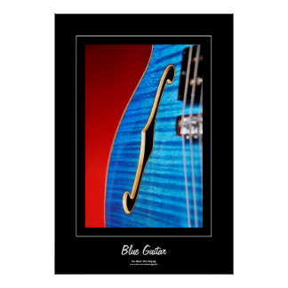 Blue Guitar Black Borders Poster