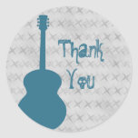 Blue Guitar Grunge Thank You Stickers