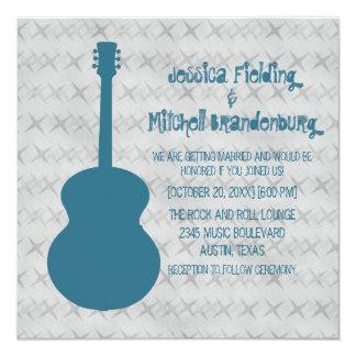 "Blue Guitar Grunge Wedding Invite 5.25"" Square Invitation Card"