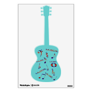 Blue Guitar-Music Notes and Words Wall Sticker
