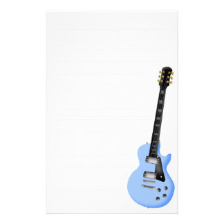 blue guitar stationary paper customized stationery
