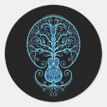 Blue Guitar Tree of Life on Black Classic Round Sticker