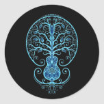 Blue Guitar Tree of Life on Black Stickers