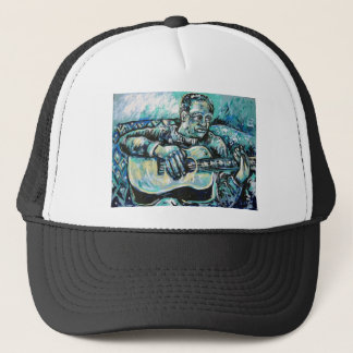 blue guitar trucker hat