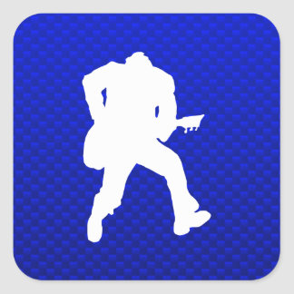 Blue Guitarist Square Sticker
