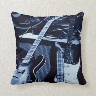 Blue Guitars Throw Pillow