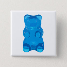Blue Gummybear Illustration Button