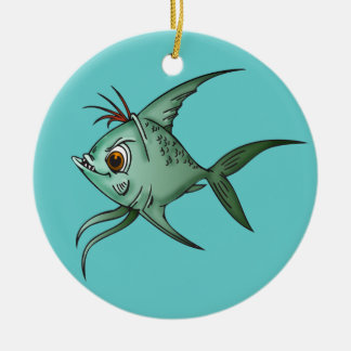 Blue Guppy Fish Ceramic Ornament
