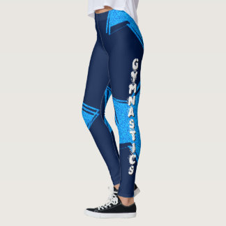 Blue Gymnastics design pattern leggings