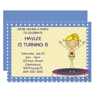 Blue Gymnastics Trampoline Birthday Party Card