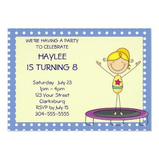 Blue Gymnastics Trampoline Birthday Party 5x7 Paper Invitation Card