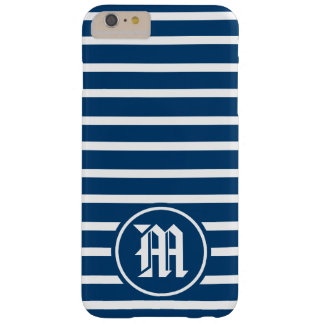Blue H Stripe Monogram Barely There iPhone 6 Plus Case
