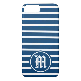 Blue H Stripe Monogram iPhone 8 Plus/7 Plus Case