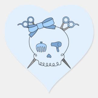 Blue Hair Accessory Skull (Scissor Crossbones #2) Heart Sticker