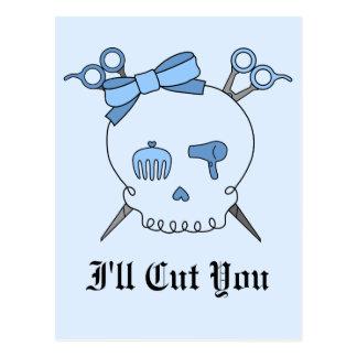 Blue Hair Accessory Skull Scissor Crossbones 2 Postcard