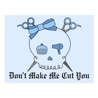 Blue Hair Accessory Skull Scissor Crossbones 2 Postcards