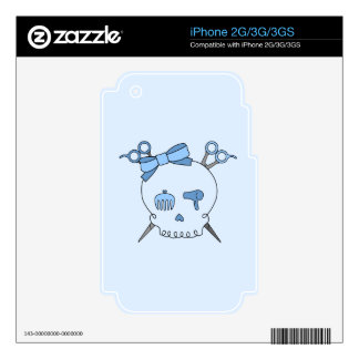 Blue Hair Accessory Skull Scissor Crossbones 2 Decal For The iPhone 2G