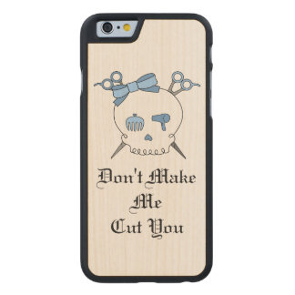 Blue Hair Accessory Skull -Scissor Crossbones #3 Carved® Maple iPhone 6 Case