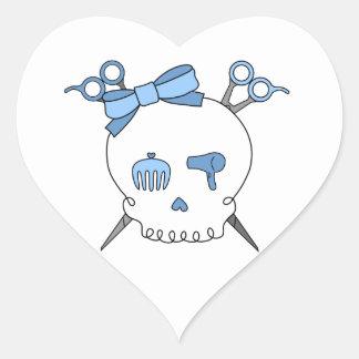 Blue Hair Accessory Skull (Scissor Crossbones) Heart Sticker