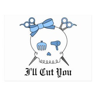 Blue Hair Accessory Skull Scissor Crossbones Post Card