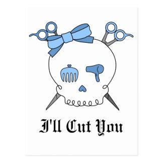 Blue Hair Accessory Skull (Scissor Crossbones) Postcard