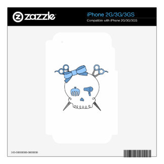 Blue Hair Accessory Skull Scissor Crossbones Decal For The iPhone 3G