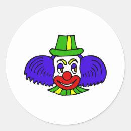 Blue hair clown head classic round sticker