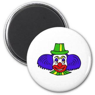 Blue hair clown head magnet
