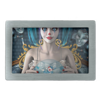 Blue hair clown model rectangular belt buckle