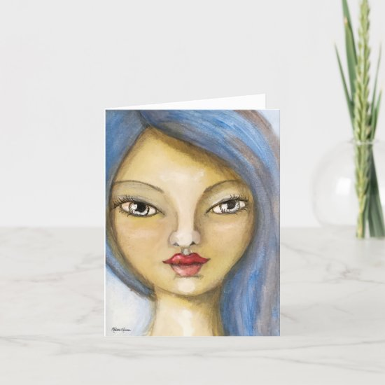 Blue Hair Girl Painting Fun Whimsical Art Note Card