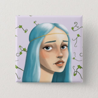 Blue Hair Maiden Button