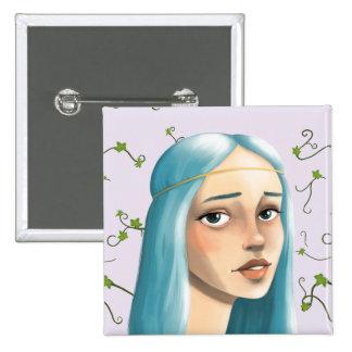 Blue Hair Maiden Button