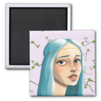 Blue Hair Maiden on Ivy 2 Inch Square Magnet