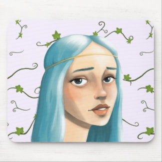 Blue Hair Maiden on Ivy Mouse Pad