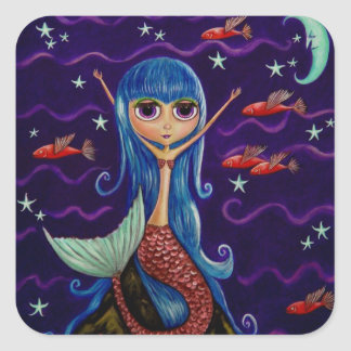 Blue Hair Mermaid and Red Flying Fish Square Sticker