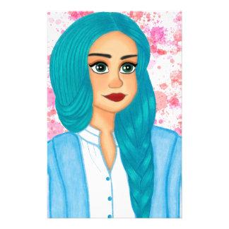 Blue Hair Stationery