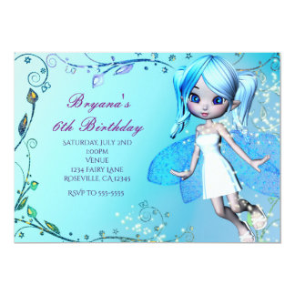Blue Haired Fairy Girls Birthday Party Invitations