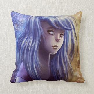 Blue Haired Girl American MoJo Pillows Throw Pillows