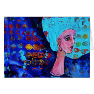 Blue Haired Girl blue feminine fun girly art card