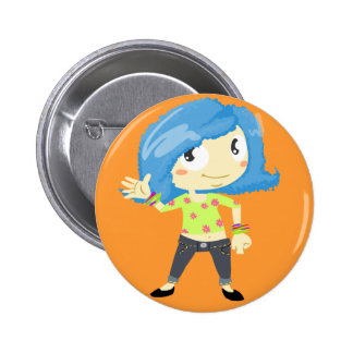 Blue haired girl buttons