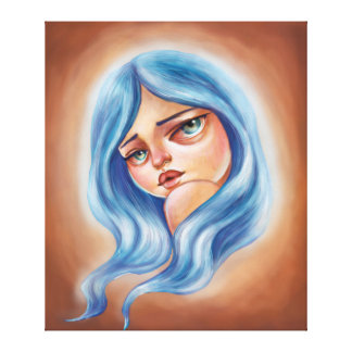 Blue Haired Girl Pop Surrealism Big Eyed Girl Art Canvas Print