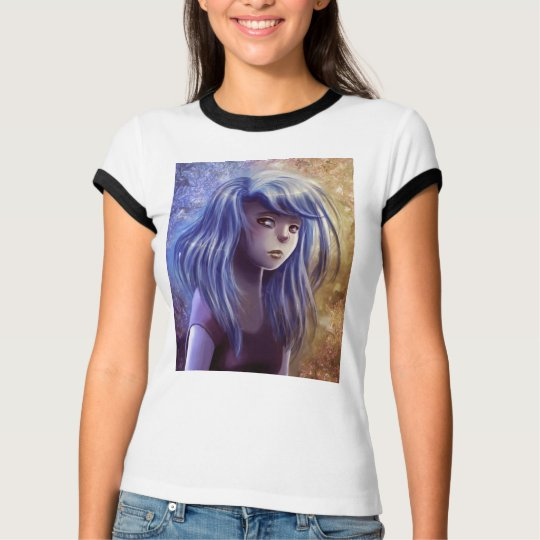 Blue Haired Girl Portrait T-shirt
